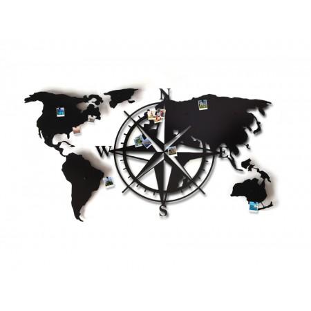 "Dekoracja scienna ""Mapa świata Compass 3D"""
